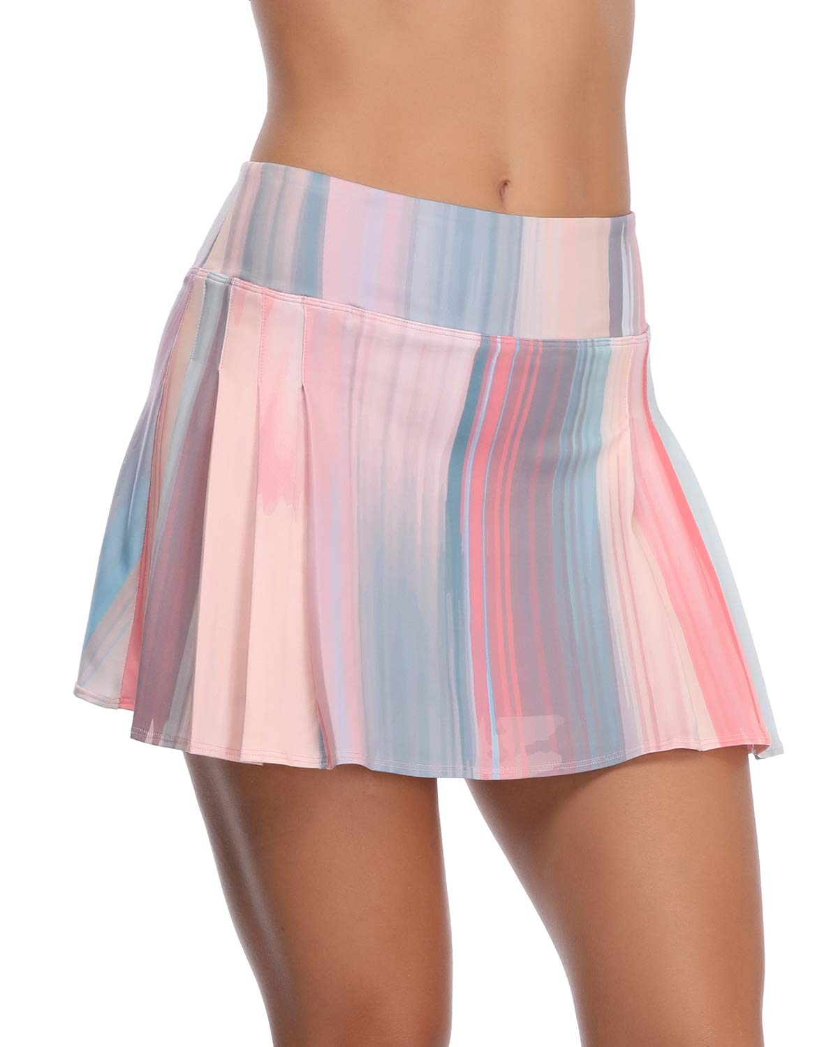 Women's Tennis Skirt Elastic Active Athletic Skort Lightweight Skirt Built-in Shorts for Running Tennis Golf Workout Rainbow by RainbowTree