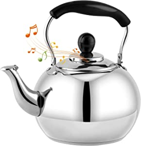 DclobTop Stove Top Whistling Tea Kettle 2.5 Quart Classic teapot appearance Culinary Grade Stainless Steel Teapot Composite process bottom