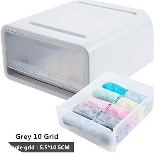 Tipo cajón de ropa interior Caja de almacenamiento Organizador Caja de plástico transparente de la ropa interior de la ropa interior del compartimiento Calcetines de almacenaje, gris 10 Rejilla: Amazon.es: Hogar