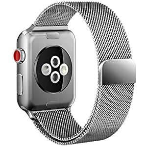 Apple Watch Band, Milanese Loop Mesh Smooth Stainless Steel Full Magnetic Closure Replacement Band for Apple Watch Edition Series 3/2/1 2017 Release (silver)