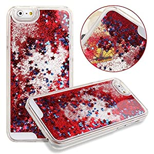 Rinastore iPhone 6s case,iphone 6 case,Creative Design Flowing Quicksand Moving Stars Bling 3D Glitter Floating Dynamic Flowing Case Liquid Cover for Iphone 6 4.7inch (Red star)