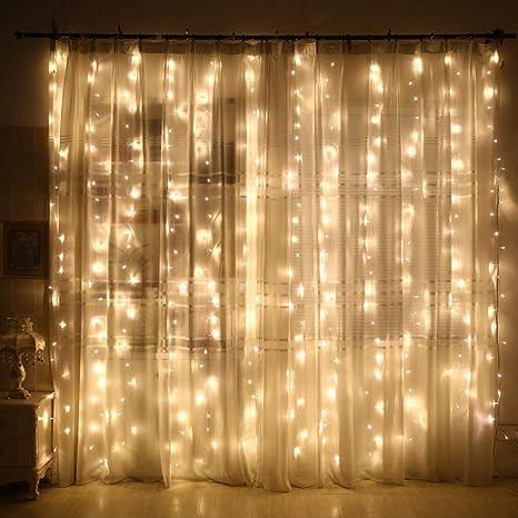 luz cadena cortina 240 ledes, 8 modos 3 m x 2 m IP44 Impermeable ...