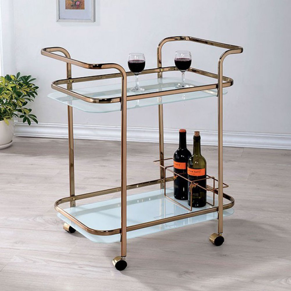 Benzara BM123225 Contemporary Serving Cart,Champagne, One Size