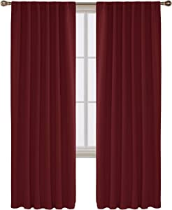 Deconovo Solid Rod Pocket and Back Tab Curtains Thermal Insulated Blackout Curtains for Living Room 52x84 Inch Maroon Red Set of 2