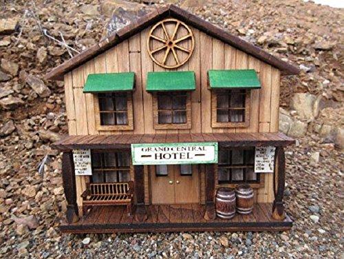 Grand Central Hotel, Old West Miniature Rustic Building, EB Farnum Deadwood American -