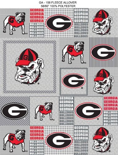 (Georgia Bulldogs Patches Polyester Fleece Fabric, White & Red - Sold By the Yard)