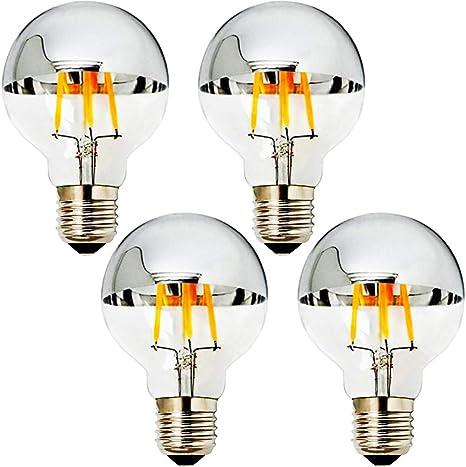 Md Lighting 4w Half Chrome Light Bulbs G25 G80 E26 Warm White 2700k 40w Equivalent 360lm