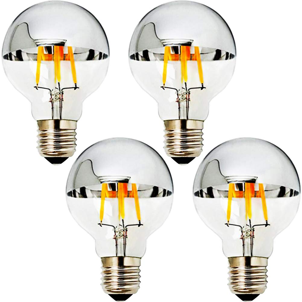 MD Lighting E27//E26 4W Half Chrome Light G25 G80 Warm White 2700K 40W Equivalent 360lm Led Globe Filament Vintage Bulbs with Silver Mirror for Indoor Dinning Room Living Room 4-Pack AC 110V