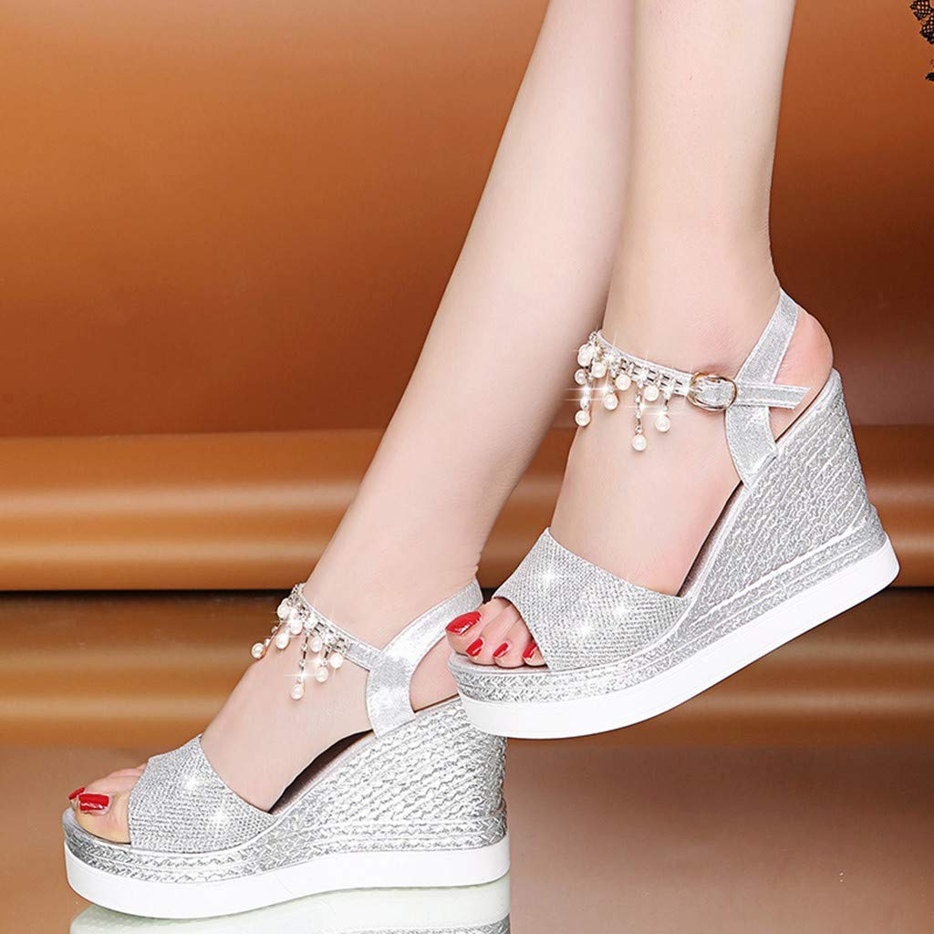 〓COOlCCI〓Womens Middle Wedge Heel Ankle Strap Open Toe Flip Sandals Espadrille Platform Wedges Sandals Slingback Silver by COOlCCI_Shoes (Image #5)