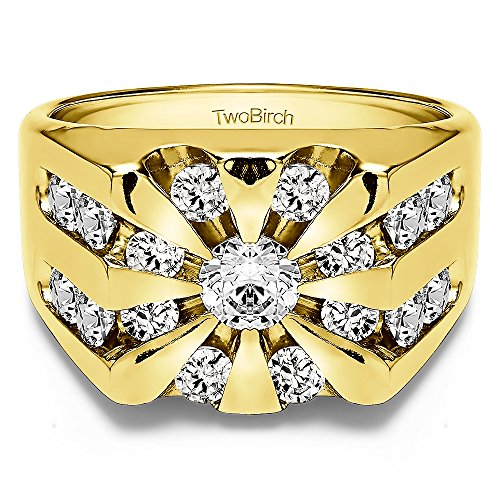 TwoBirch Yellow Plated Sterling Silver Cool Mens Ring Cub...