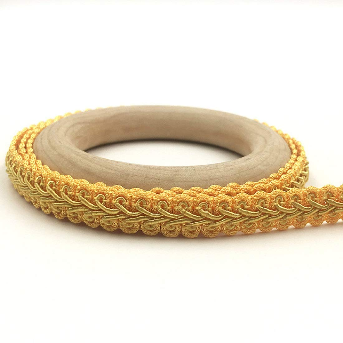 Yalulu 10 Meter Embroidery Braid Twist Woven Fabric Cord Lace Sewing Braid Trim Sewing Trimming Edge Craft Decorative Ribbon Gold