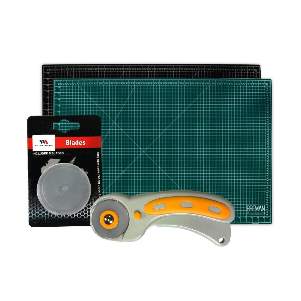 WA Portman Rotary Cutter Set | 45mm Rotary Fabric Cutter with 5 Extra Cutter Blades and 24x36-inch Self Healing Cutting Mat Set | Great for Crafting Sewing Quilting Scrapbooking Enthusiasts by W.A. Portman