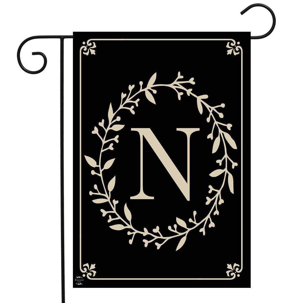 "Briarwood Lane Classic Monogram Letter N Garden Flag Everyday 12.5"" x 18"""