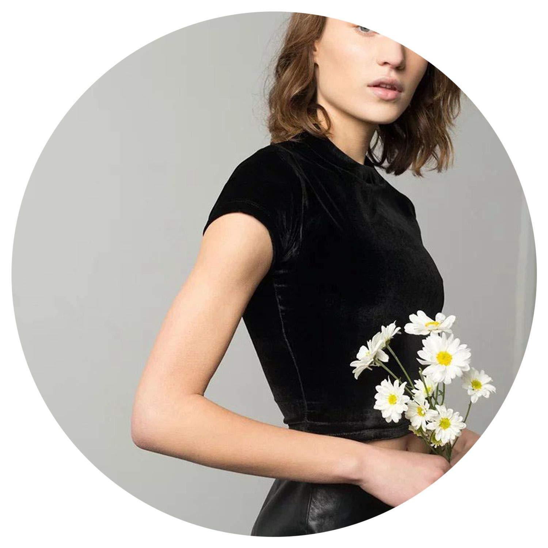 2019 Crop top t Shirt Women on Velvet top Short SLE Zipper t-Shirt poleras de tees Tops