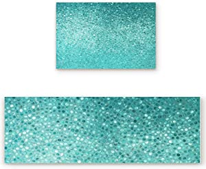 2 Pcs Kitchen Mats Runner Rug Set Anti Fatigue Standing Mat Rubber Backing Small Turquoise Dot Tiles Shape Simple Creative Design Print Washable Floor Mat Area Rug for Home/Office