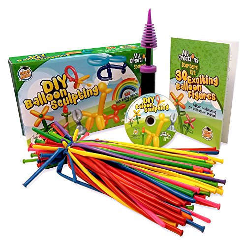DIY Balloon Animal Making Starting Kit, Create 30 + Sculptures - 100 Balloons, Pump, How to DVD, Instruction Book, Party Fun Activity/Gift for Older Kids, Teens Boys and Girls. (For Dads Older Gifts)