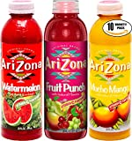 Arizona Variety Pack! Watermelon, Mucho Mango, Fruit Punch, 20 oz Bottle (Total of 10 Bottles)