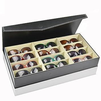 Black Display Case Leather Sunglasses Organizer Box Family Eyewear Storage  Usage 12 Compartments