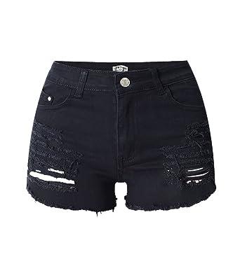iRachel Damen Short Hotpants Demin Short kurze Hose Ripped Loch Hose
