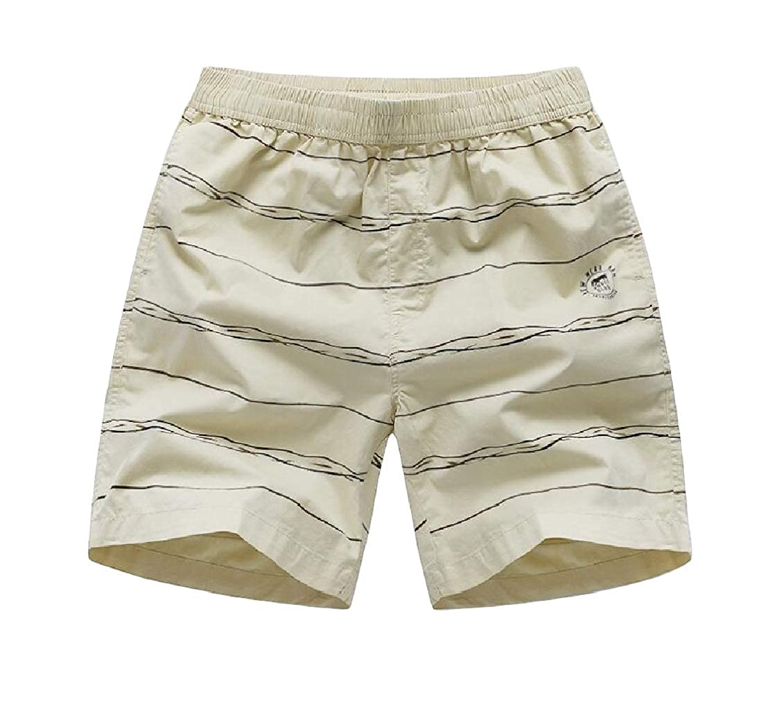 Macondoo Mens Contrast Color Bathing Cotton Striped Sports Beach Short