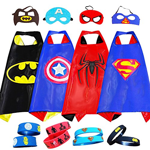 Superhero Costumes For Kids, Girls & Boys | Pretend Play Satin 4 Capes,4 Masks & Bracelets | For Halloween, Birthdays Party Favors, Dress Up & (Tony Stark Halloween Costume)