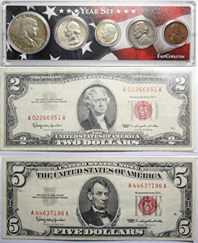 1963 Year Set with $2 & $5 Red Seal - Gold United States Seal Note