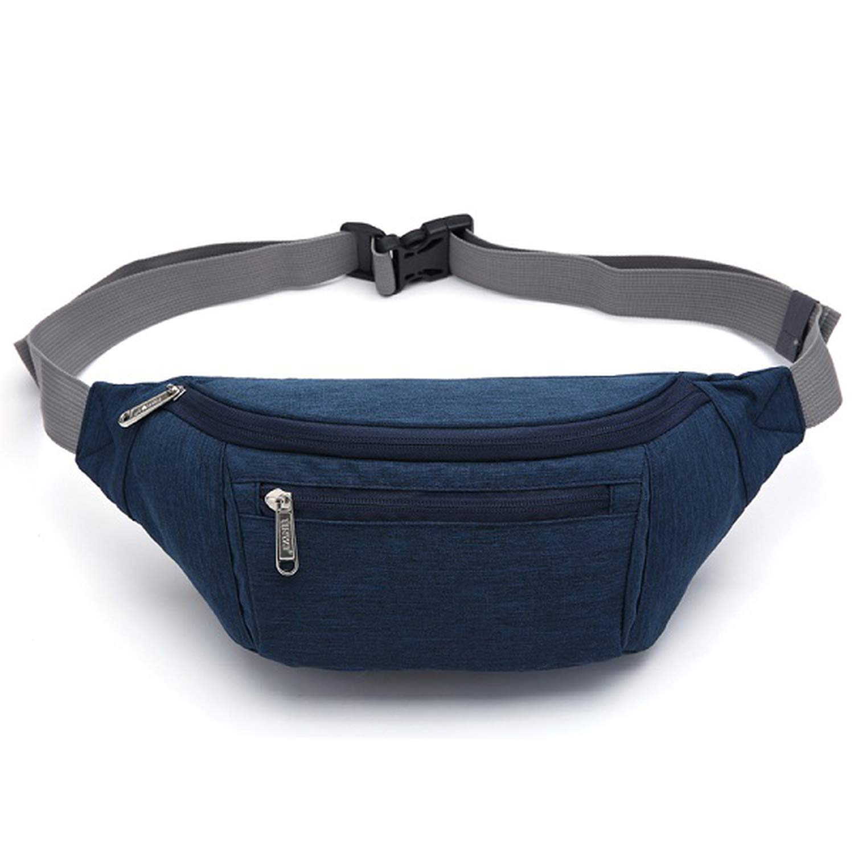 Men Waist Bag Pack Travel Pouch for Men Women Casual Unisex Shoulder Chest bag Canvas pack Hip pack,Waist Bag Blue,China