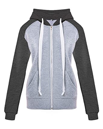 521497404d SHETAO Women's Contrast Color Casual Zipper up Hooded Sweatshirt Spliced  Hoodie Outwear Black