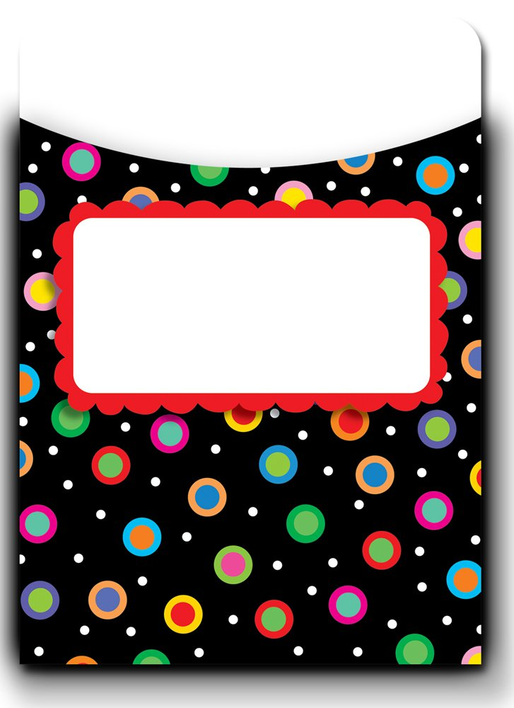 Creative Teaching Press Dots on Black Jumbo Library Pockets (6779)