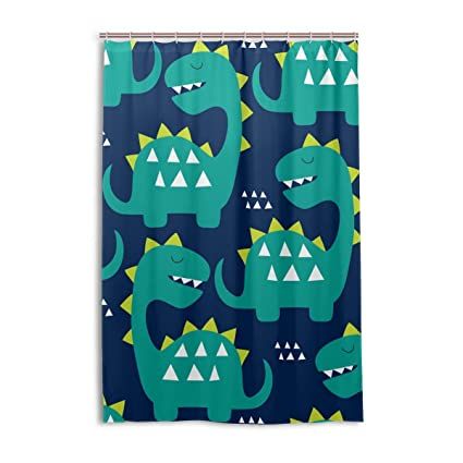 Image Unavailable Not Available For Color Funny Green Dinosaurs Shower Curtain Bath Curtains Hooks