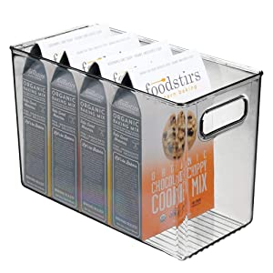 mDesign Plastic Food Storage Container Bin with Handles - for Kitchen, Pantry, Cabinet, Fridge/Freezer - Narrow Organizer for Snacks, Produce, Vegetables, Pasta - BPA Free, Food Safe - Smoke Gray