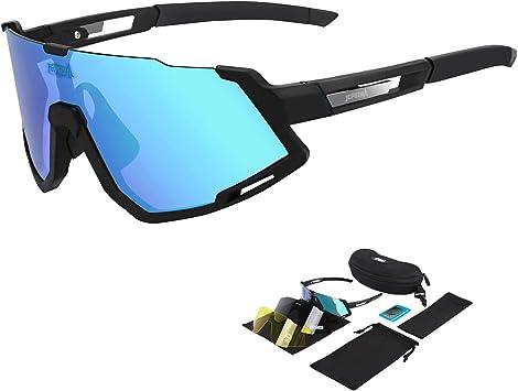 TOPTETN Gafas de Sol Deportivas polarizadas Protección UV400 Gafas de Ciclismo con 5 Lentes Intercambiables para Ciclismo, béisbol, Pesca, esquí, Funcionamiento (Negro Azul): Amazon.es: Deportes y aire libre