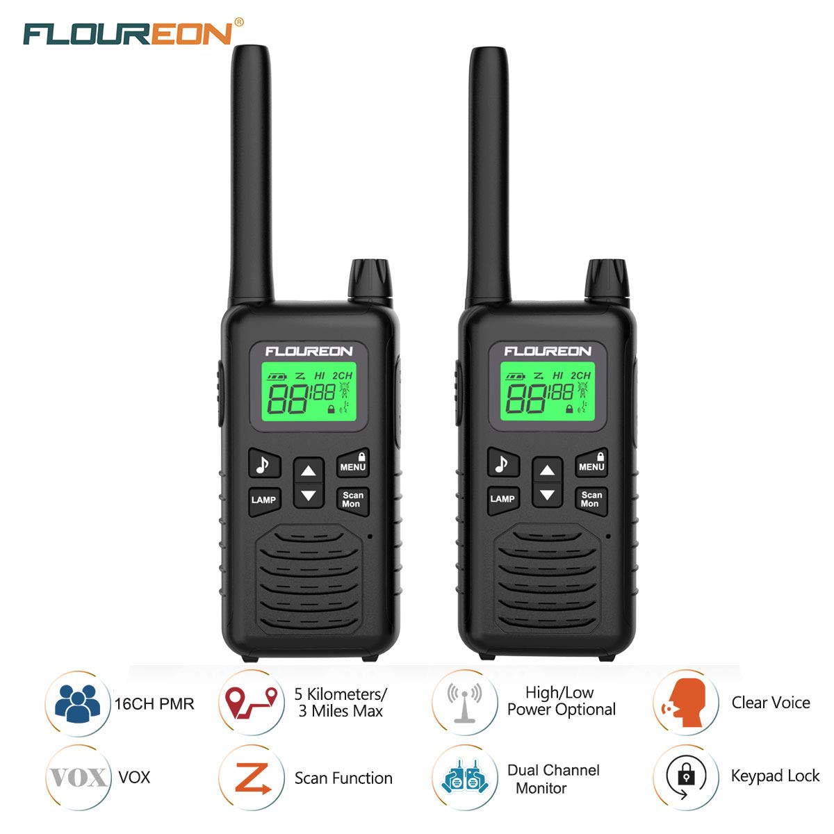 FLOUREON 2X PMR Funkgeräte Set 16 Kanäle Walkie Talkies 2-Wege Radio Walki Talki Funkhandy Interphone mit LC-Display 5KM, Schwarz