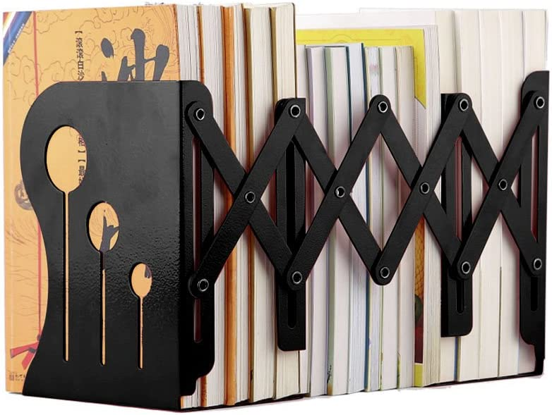 HaloVa Bookends Metal Iron Adjustable Books Holder Stand Desk Heavy Duty Nonskid Bookend, Small, Black