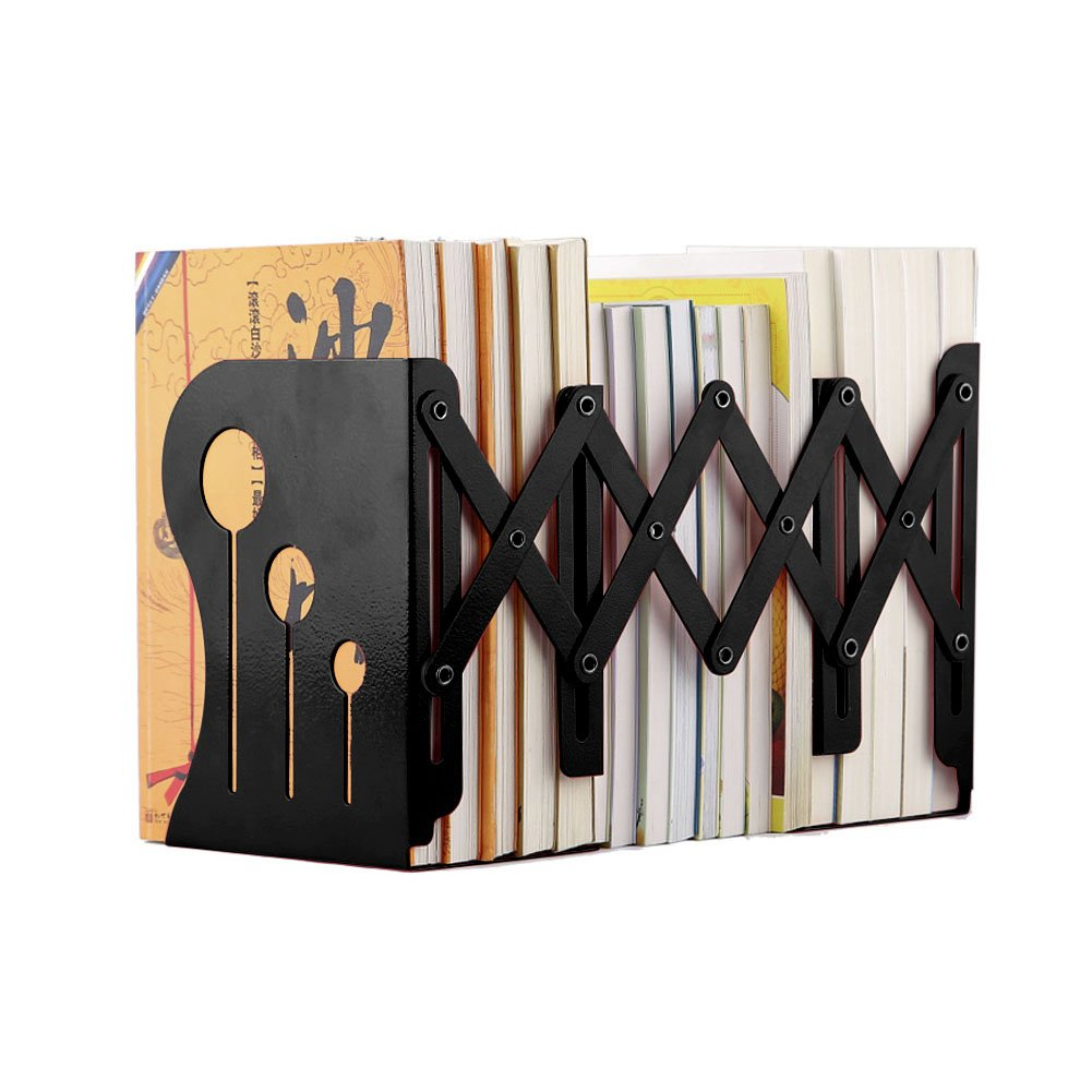 HaloVa Bookends Metal Iron Adjustable Books Holder Stand Desk Heavy Duty Nonskid Bookend, Large, Black