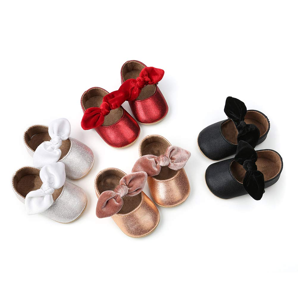 Red 13cm Alamana Bowknot Infant Baby Girls Princess Soft Sole Anti-Slip Prewalker Toddler Shoes