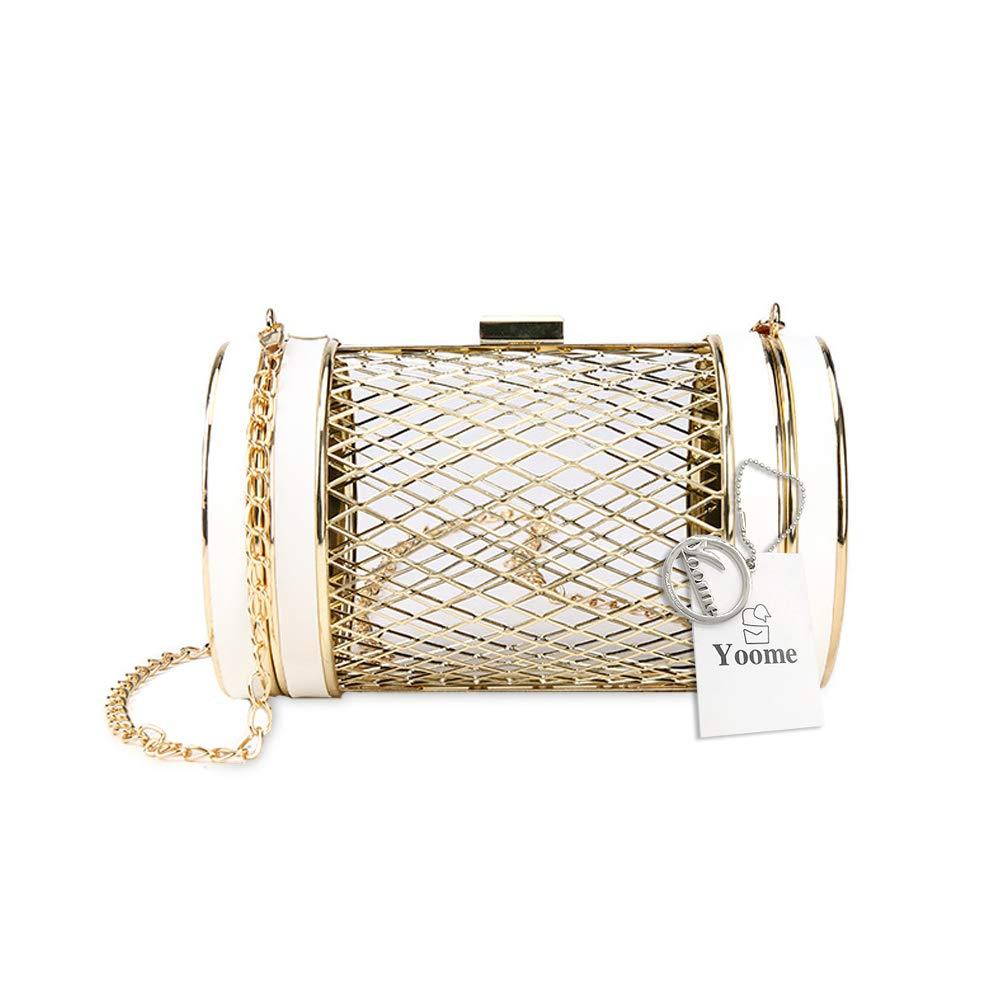 fd2efef686 Amazon.com: Yoome Womens Girls Cylinder Shape Metal Mesh Cage Clutch  Handbag Evening Party Chain Shoulder Bag: yoome