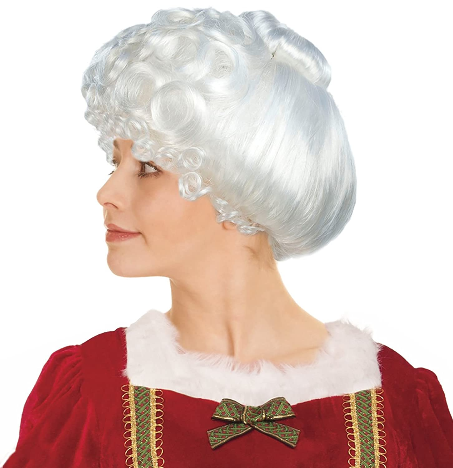 Women's Deluxe White Mrs. Clause Costume Wig