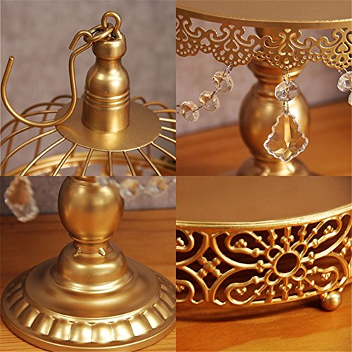 12 Pcs/set Golden Cake Stands and Pastry Trays,Metal Birdcage Cupcake Dessert Pedestal/Display/Plate/Stands and Trays with Crystals and Beads,Party Birthday Party Wedding Decorations for Tables by Gooday (Image #3)