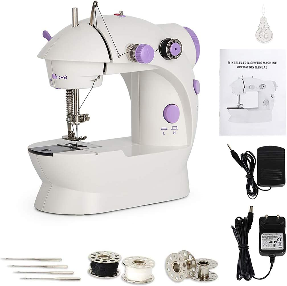 Portable Sewing Machine Electric Handheld Small Mini Sewing Machines with Foot Pedal /& Sewing Thread Household Sewing Machine Purple