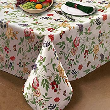 Enchanted Garden Flannel Backed Vinyl Tablecloth Indoor Outdoor 70 Inch  Round