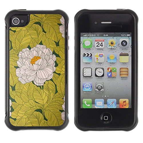 All-Round Hybrid Rubber Case Hard Cover Protective Accessory Compatible with Apple iPhone 4 & 4S - begonia flower white yellow vintage
