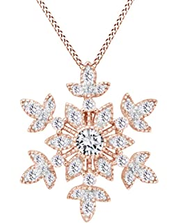AFFY White Cubic Zirconia Princess Crown Trinity Pendant Necklace in 14k Gold Over Sterling Silver