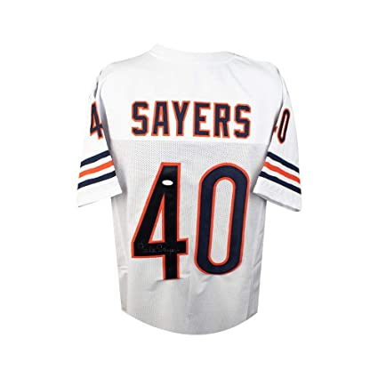 buy popular 587b3 b3388 Gale Sayers Autographed Chicago Bears Custom White Football ...