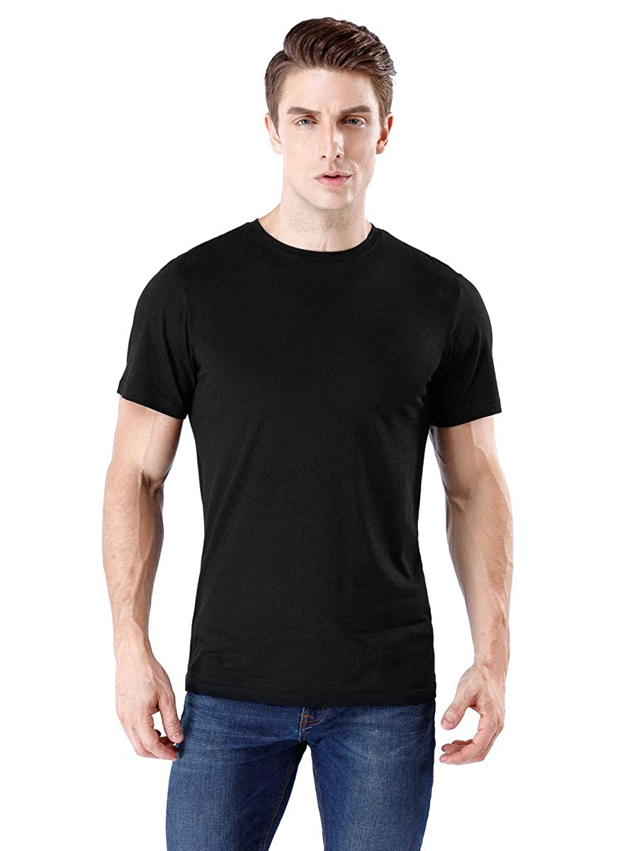 wirarpa Mens Casual Cotton Tagless T-Shirts Crew Short Sleeve Black White
