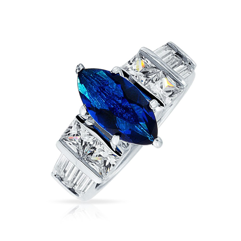 Bling Jewelry Sterling Silver 2ct Marquise Blue Sapphire Color CZ Bar Side Stone Engagement Ring - Size 9