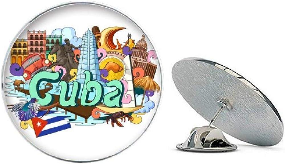 Guantanamo Trinidad Cuba Graffiti Round Metal Tack Hat Pin Brooch
