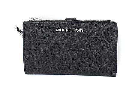 Michael Kors Damen Geldbörse, Clutch, doppelter RV, MK Logo 4x10x18 cm, Echtes Leder, Schlaufe, Jet Set TRAVEL (Schwarz)