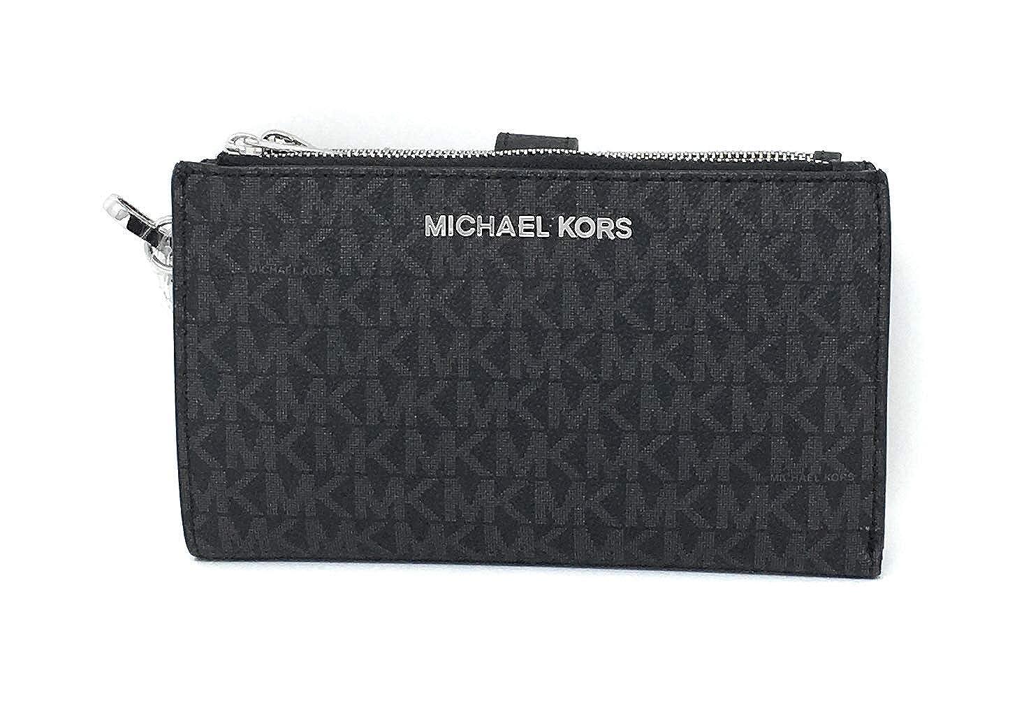 de412c8541b438 Michael Kors Jet Set Double Zip Wristlet Black PVC: Handbags: Amazon.com