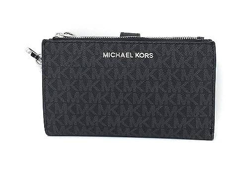 409b41851f25 Michael Kors Jet Set Double Zip Wristlet Black PVC  Handbags  Amazon.com